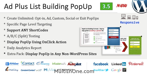 Ad Plus List Building Popup WordPress Plugin(Free Download)