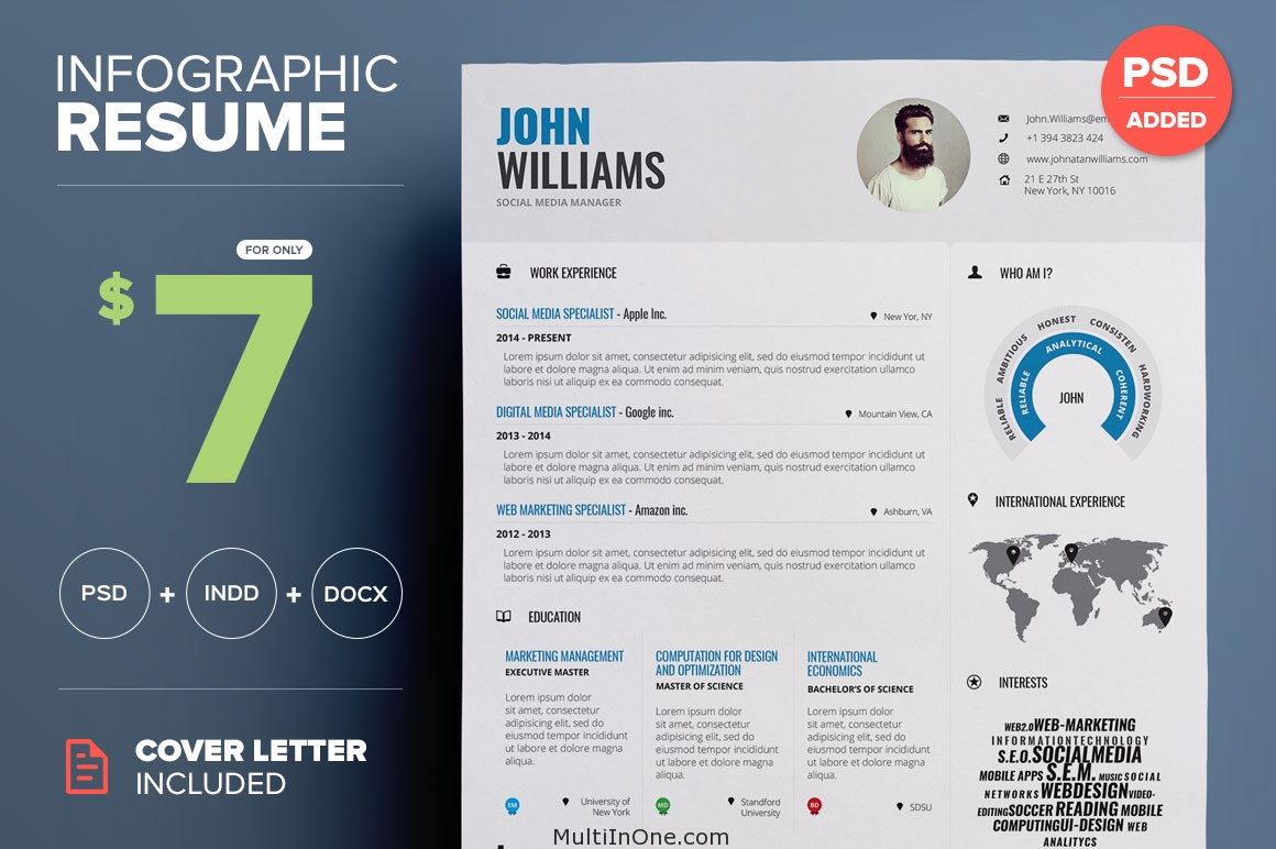 infographic resume word indesign vol 1 free