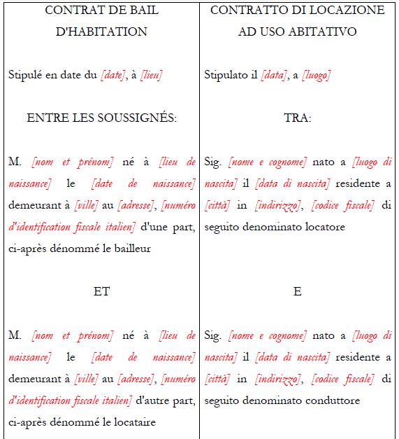 Contratto Di Locazione Bilingue Ita Fra Multiforms
