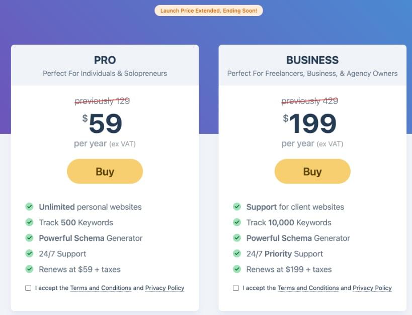 MathRank SEO plugin price - PRO vs AGENCY version - compared