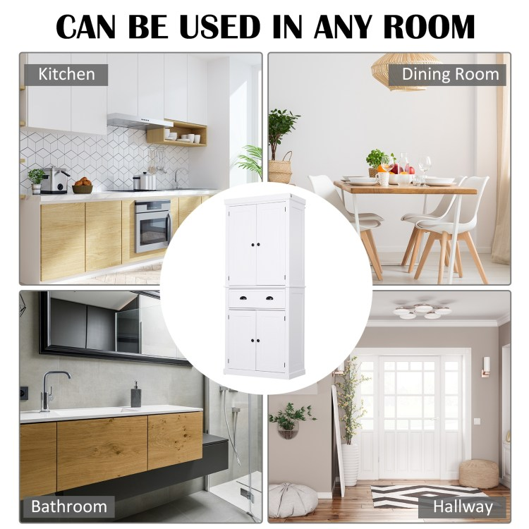 Homcom 72 5 H Traditional Freestanding Kitchen Pantry Cabinet White Best Buy Canada