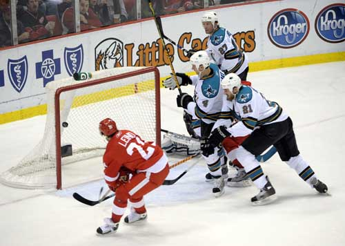 The Red Wings Ville Leino scores the second goal in the first period. Ankur Dholakia / The Detroit News