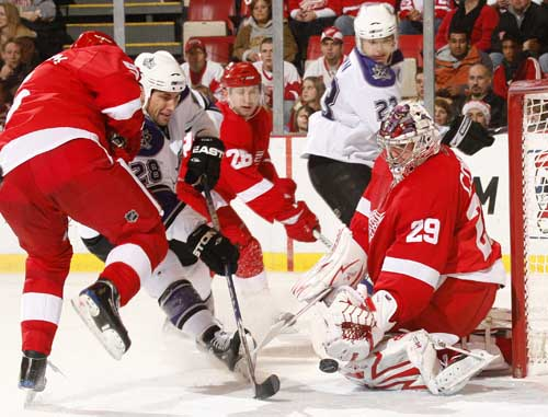 Detroit Red Wings goalie Ty Conklin makes a second-period save in a 6-4 victory over the Los Angeles Kings at Joe Louis Arena, Saturday Dec. 20, 2008.