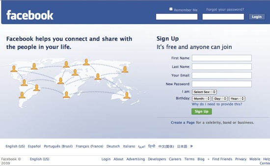 Facebook Account Setup Homepage