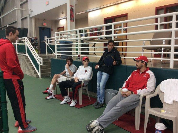 Members of Cornell Men's Tennis spend time at the Reis Tennis Center