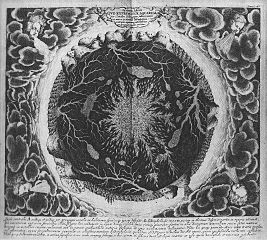 The interior of the earth, with subterranean lakes, rivers and pools of fire, according to Athanasius Kircher, 1678.