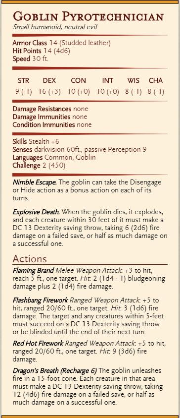 goblin pyrotechnician 5e