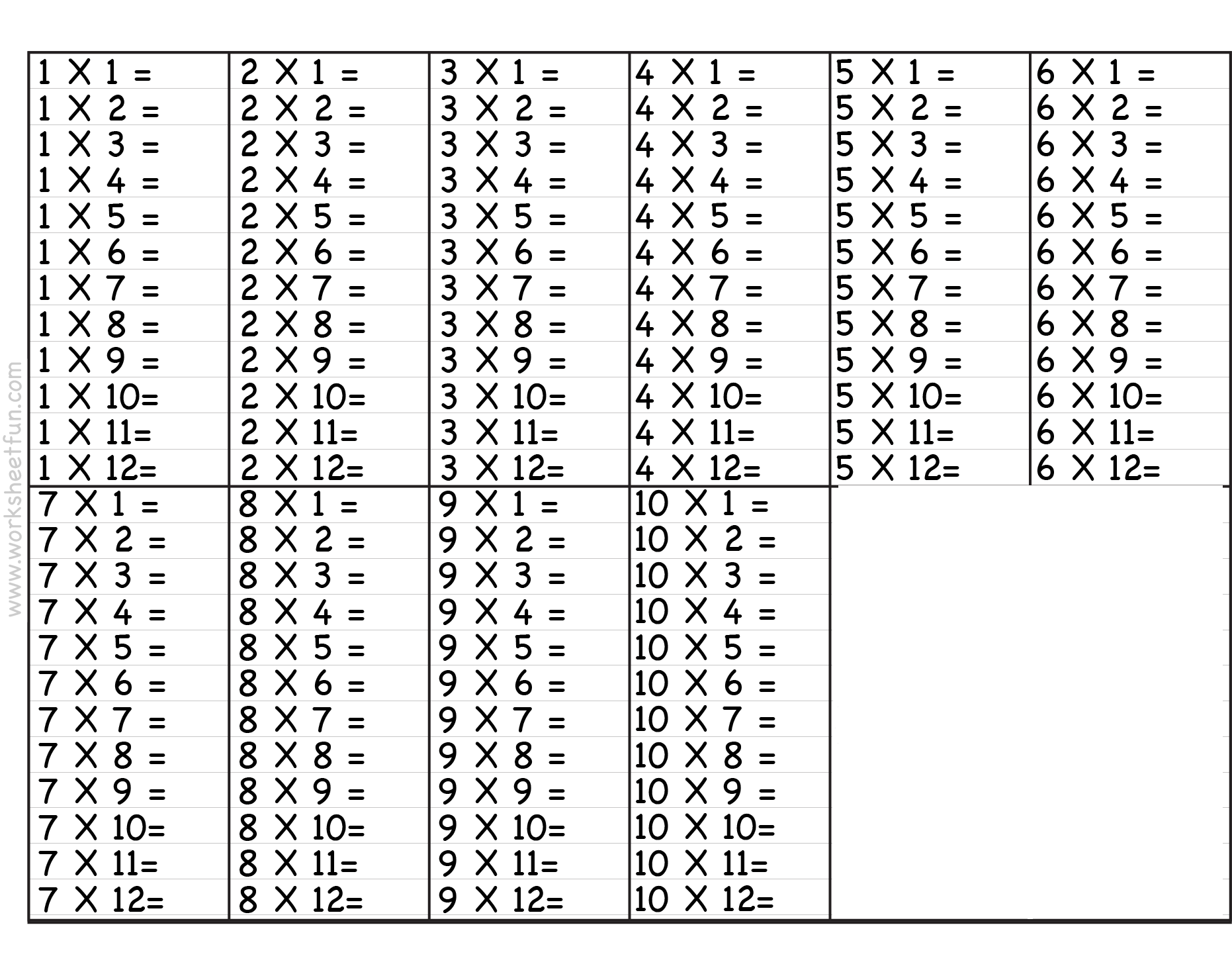 Printable Multiplication Table 1 10 Chart