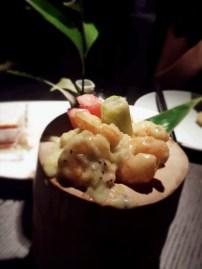 Creamy Wasabi Prawn with Seasonal Fruits