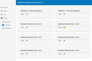 Multi Zone Matrix Audio Player - Zones