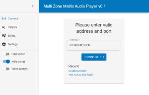 Multi Zone Matrix Audio Player - Connect