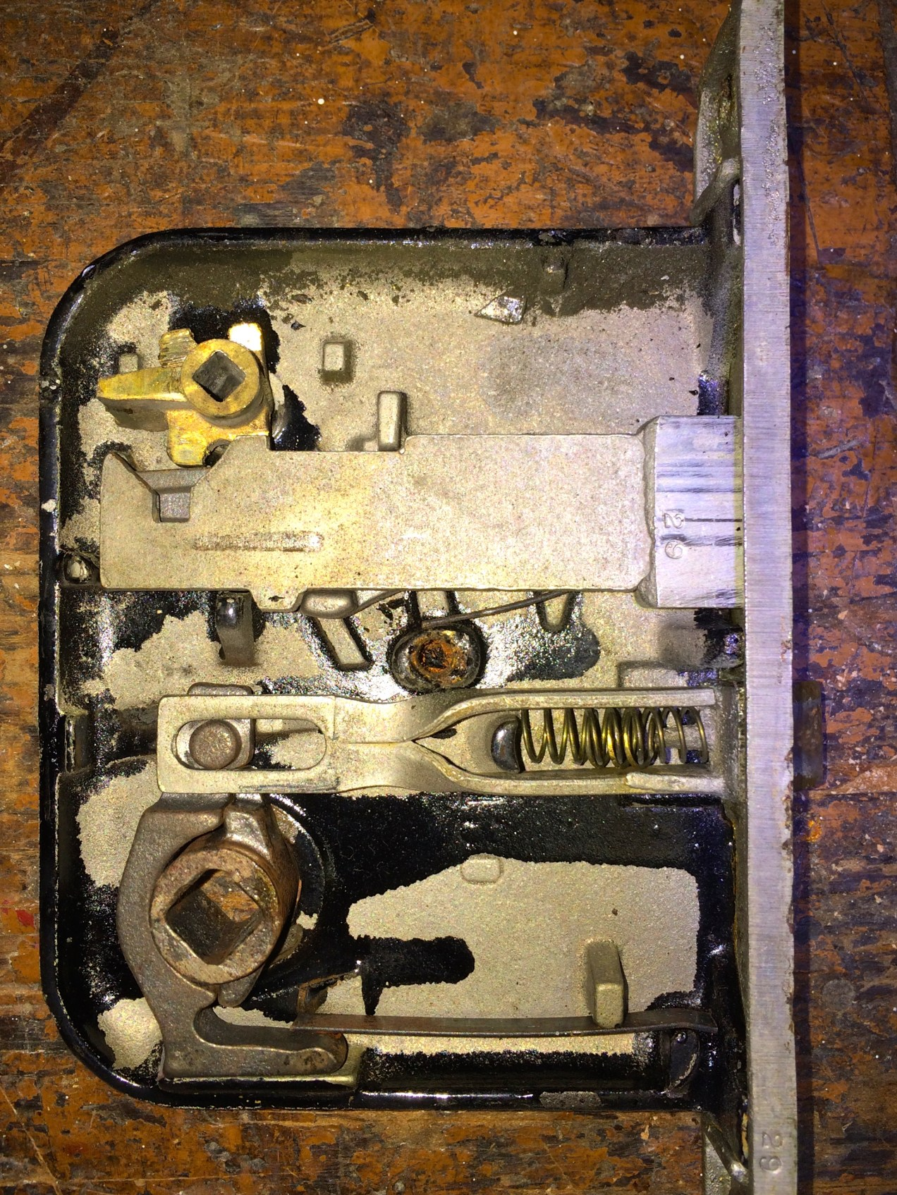 The mortise lock from our bathroom door