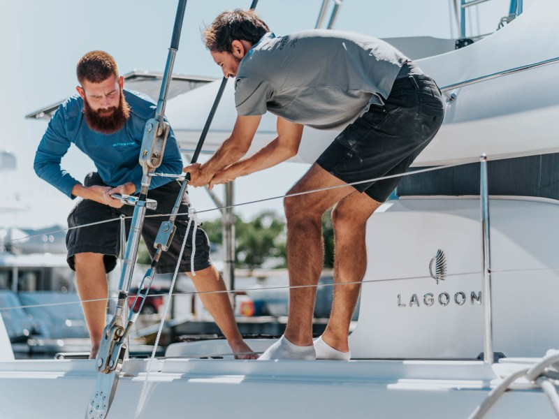 Multitech Technicians Rigging Sails on Lagoon Catamaran