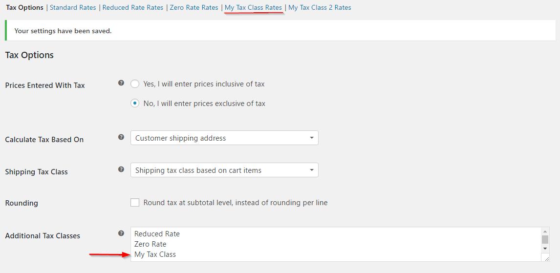 Tax class tab
