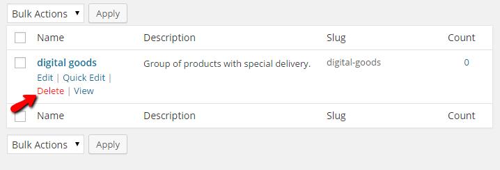 Delete shipping classes