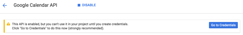 Google calendar API credentials