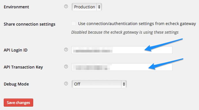 WooCommerce Authorize.Net AIM API Credentials