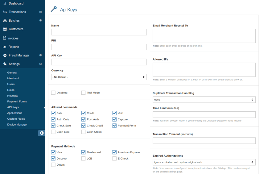WooCommerce USA ePay API settings
