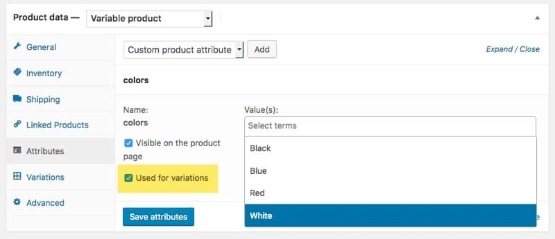 Custom attribute to variable products