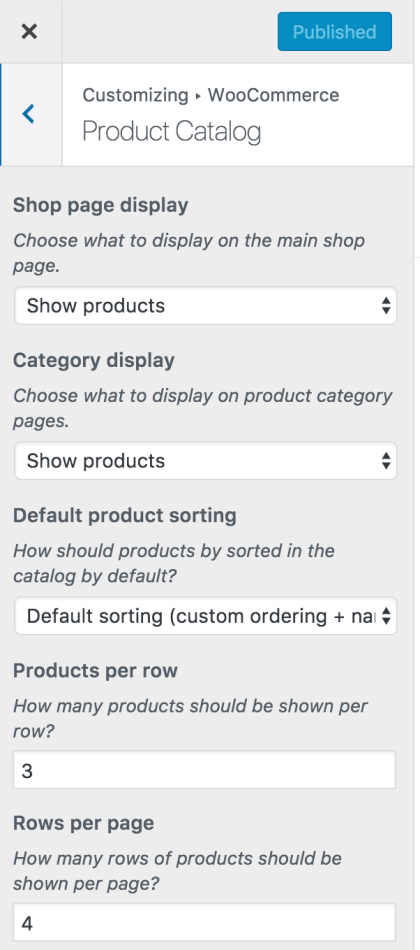 Customizer Product Catalog