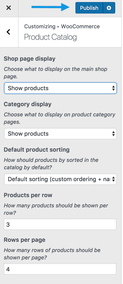 Product category shop publish