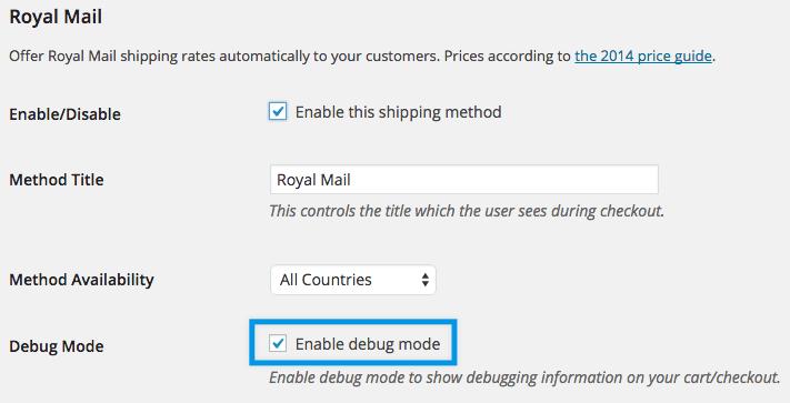 Shipping royal mail settings