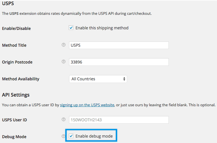 Shipping USPS settings