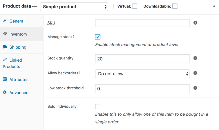 Simple Product inventory