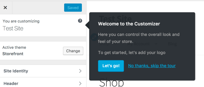 Storefront welcome customizer