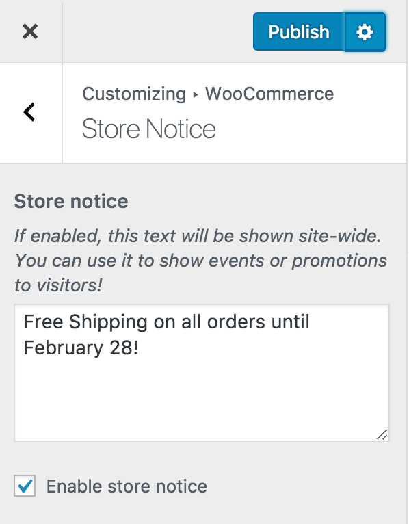 Store notice current promotion