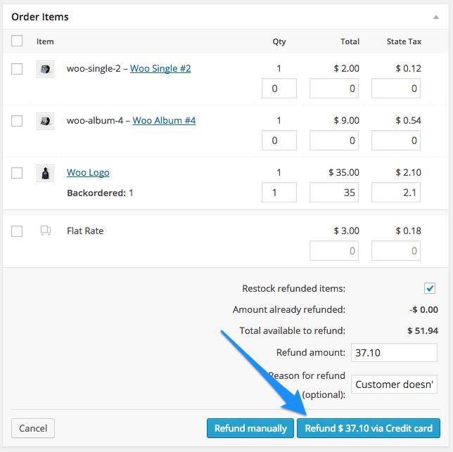 woocommerce authorize net aim start refund