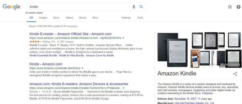 Product title search in google