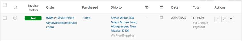WooCommerce FreshBooks Sent Invoice