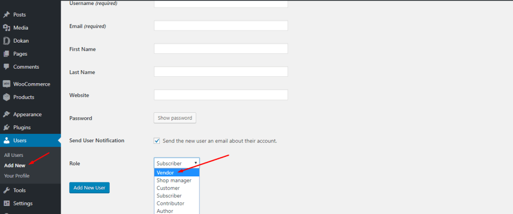 Dokan WordPress Dashboard Users Add New Vendor