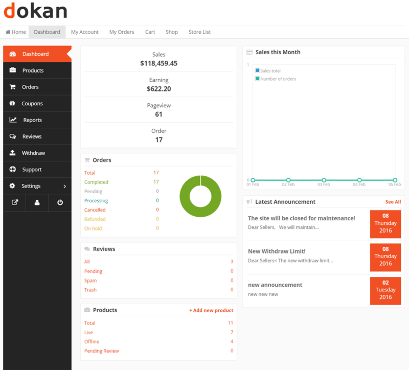Dokan multi-vendor dashboard