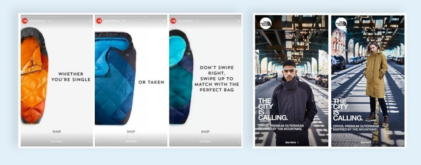 Use Instagram Stories The north face b2b sales instagram marketing