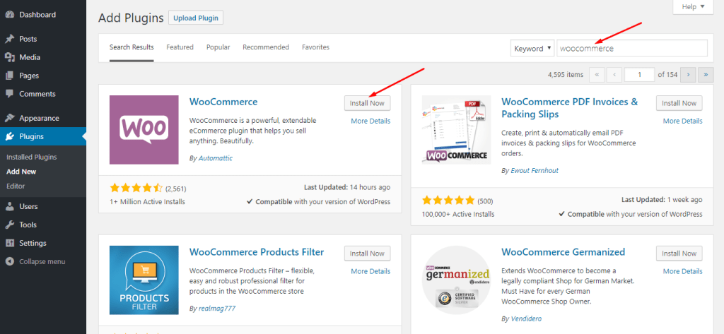 WordPress Dashboard Add Plugin Install WooCommerce