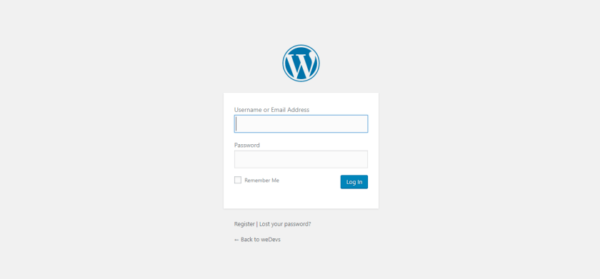 WordPress install back end login
