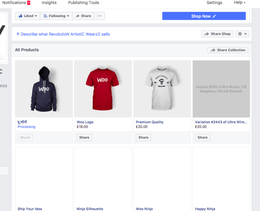 Facebook for WooCommerce all products page