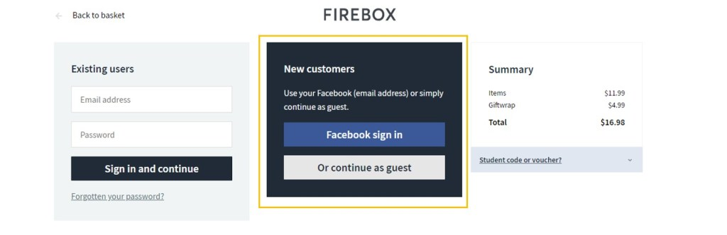 Guest Checkout or Social Log-in