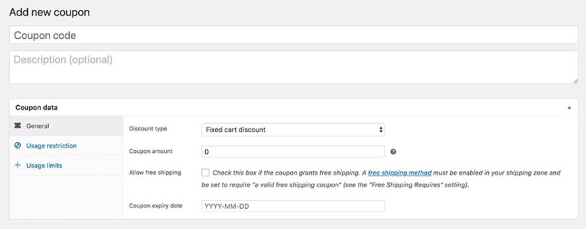WooCommerce Coupon Code - Add New
