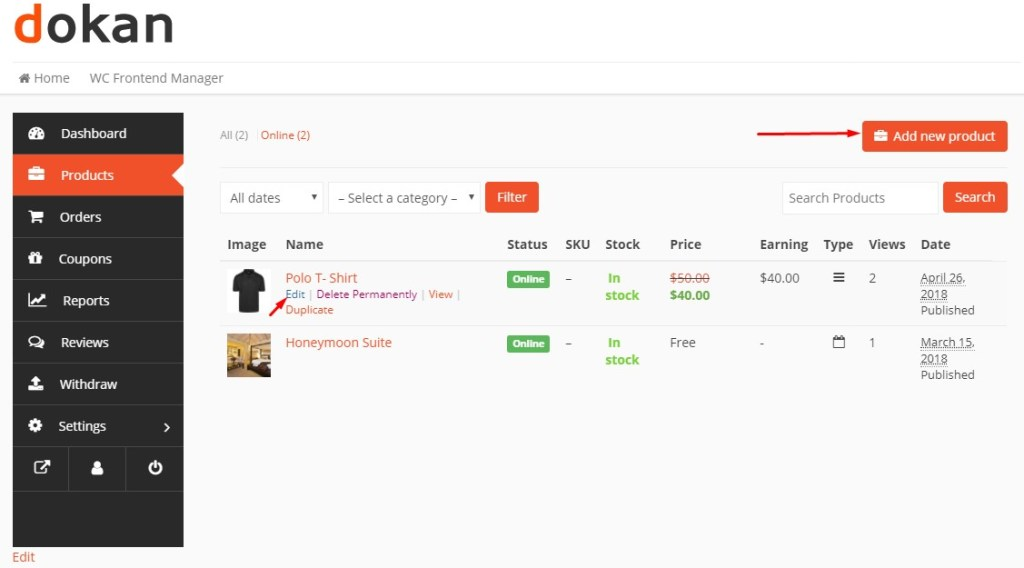Add new product to Online Clothing Store Marketplace