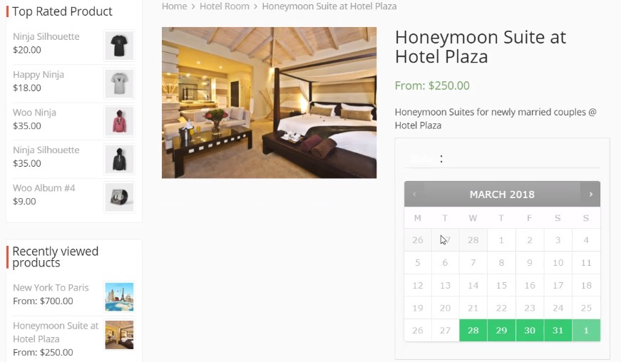 Customer Booking Hotel Room in Travel Site marketplace