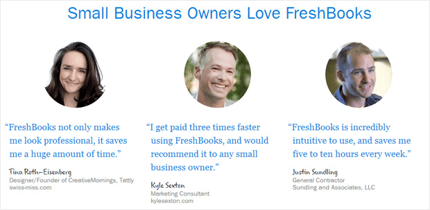 Freshbooks Testimonials for Social Proof