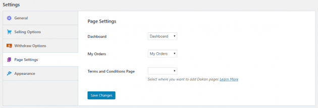 Page Settings in Dokan