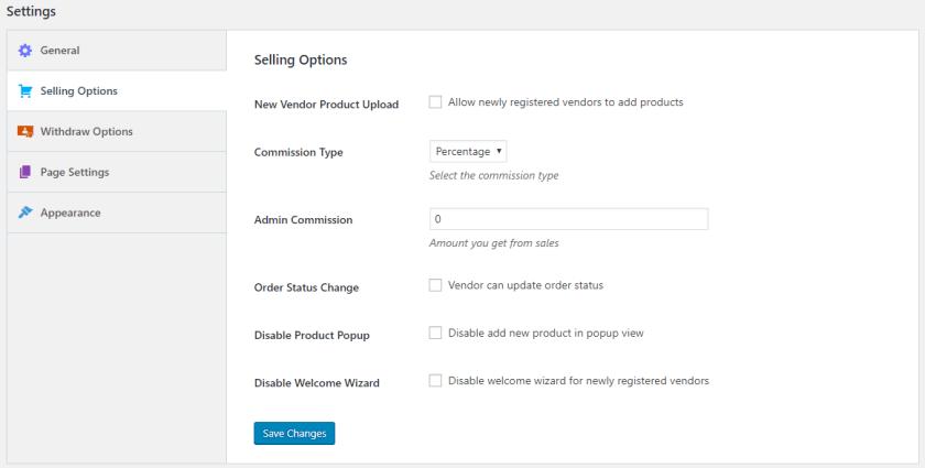 Selling Options in Dokan