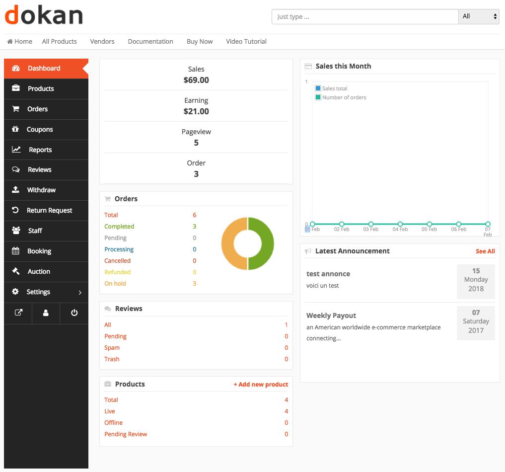 Dokan Vendor Overview Dashboard