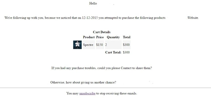 WooCommerce Abandoned Cart Emails Samples