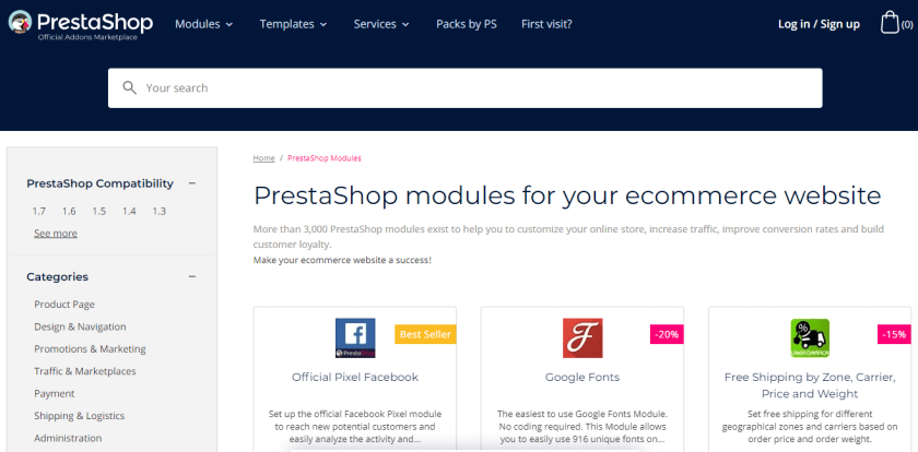 PrestaShop vs WooCommerce: PrestaShop Modules