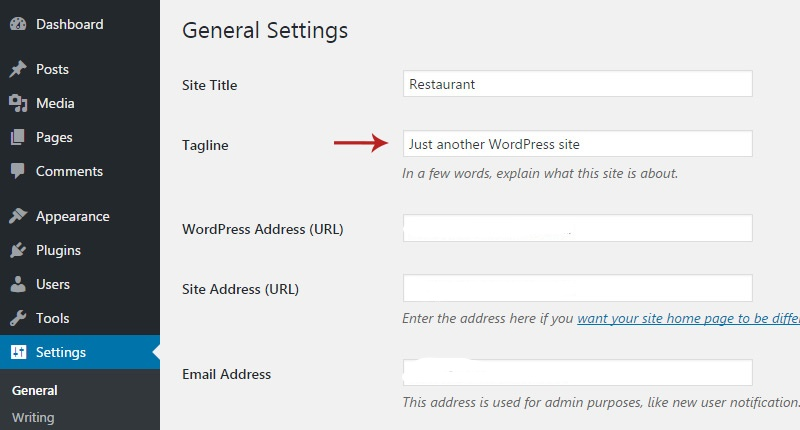 Settings Page General